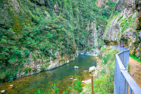 The Karangahake Gorge lies between the Coromandel and Kaimai ranges, at the southern end of the Coromandel, river flowing through Karangahake gorge surrounded by native rainforest, Peninsula in New Zealands North Island