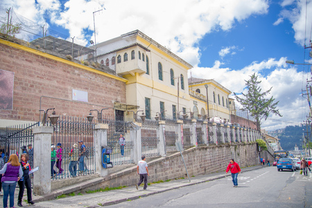 QUITO, ECUADOR - NOVEMBER 23, 2016: Unidentified people walking at outside, in the old prison Penal Garcia Moreno in the city of Quito