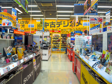 TOKYO, JAPAN JUNE 28 - 2017: Unidentified people in the enter of Yodobashi Camera department store. Yodobashi Camera is a chain store mainly selling electronic products with 21 stores in Japan