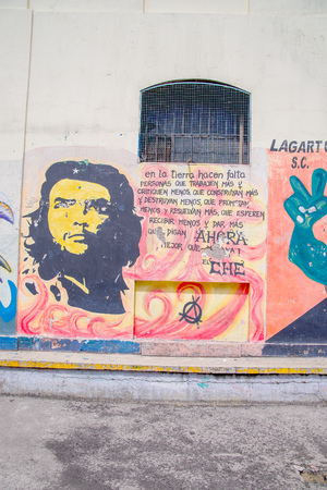 QUITO, ECUADOR - NOVEMBER 23, 2016: Art at outside of the old prison Penal Garcia Moreno in the city of Quito