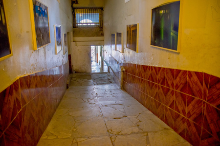 QUITO, ECUADOR - NOVEMBER 23, 2016: Indoor view of old deserted rugged building, in the old prison Penal Garcia Moreno in the city of Quito