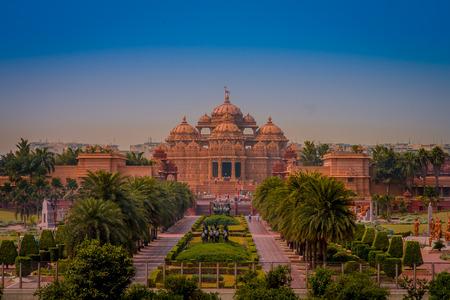 Jaipur, India - September 19, 2017: Akshardham Temple in New Delhi, India. Akshardham or Swaminarayan Akshardham complex is a Hindu mandir and a spiritual-cultural campus in India
