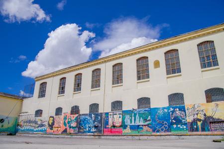 QUITO, ECUADOR - NOVEMBER 23, 2016: Art at backyard walls inside of the old prison Penal Garcia Moreno in the city of Quito.