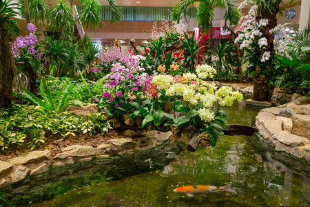 Photo pour Indoor view of people walking in a small garden with plants inside of Singapore Changi Airport. Singapore Changi Airport is the primary civilian airport - image libre de droit
