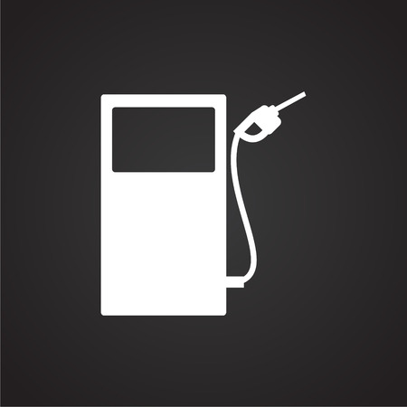 Petrol refuel station on black background icon