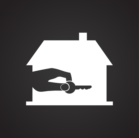 Real estate on black background icon