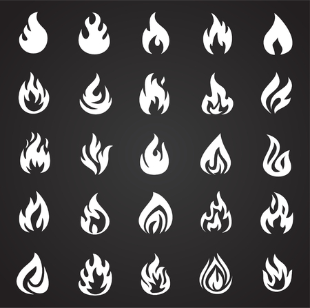 Foto per Flame icon set on black background for graphic and web design, Modern simple vector sign. Internet concept. Trendy symbol for website design web button or mobile app - Immagine Royalty Free