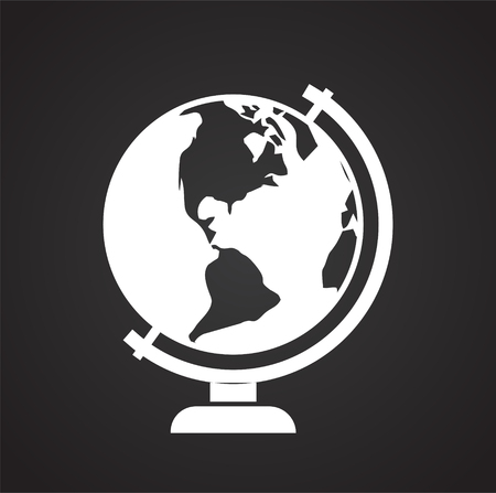 Illustration for Globe icon on black background for graphic and web design, Modern simple vector sign. Internet concept. Trendy symbol for website design web button or mobile app - Royalty Free Image