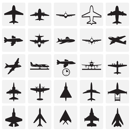 Ilustración de Airplane icons on squares background for graphic and web design, Modern simple vector sign. Internet concept. Trendy symbol for website design web button or mobile app - Imagen libre de derechos