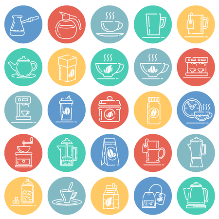 Tea and coffee outline icons set on color circles white background for graphic and web design, Modern simple vector sign. Internet concept. Trendy symbol for website design web button or mobile app