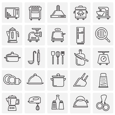 Foto de Kitchen appliances line icons set on squares background for graphic and web design, Modern simple vector sign. Internet concept. Trendy symbol for website design web button or mobile app - Imagen libre de derechos