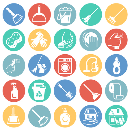 Illustration pour Cleaning icons set on color circles white background for graphic and web design, Modern simple vector sign. Internet concept. Trendy symbol for website design web button or mobile app - image libre de droit