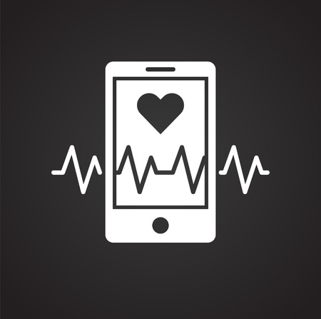 Heart rate app icon on black background for graphic and web design, Modern simple vector sign. Internet concept. Trendy symbol for website design web button or mobile app