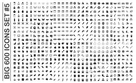 Illustration pour Big 600 icons set on background for graphic and web design. Simple vector sign. Internet concept symbol for website button or mobile app. - image libre de droit