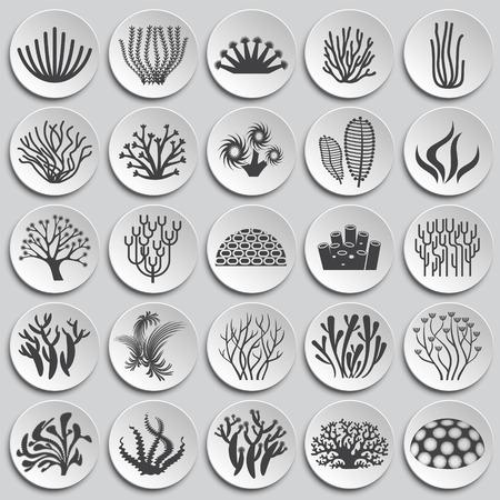 Illustration pour Coral icons set on background for graphic and web design. Simple illustration. Internet concept symbol for website button or mobile app. - image libre de droit