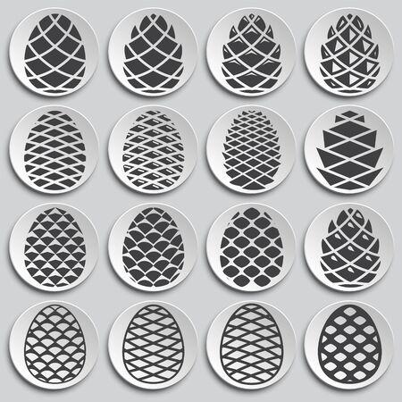 Illustration pour Pine cone icons set on background for graphic and web design. Simple illustration. Internet concept symbol for website button or mobile app - image libre de droit