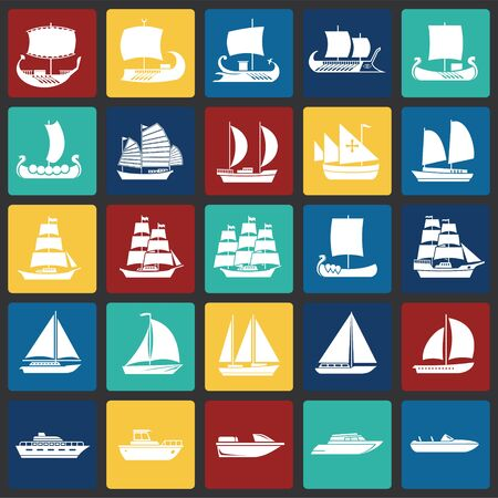 Illustration for Ship icons set on color squares background for graphic and web design. Simple vector sign. Internet concept symbol for website button or mobile app - Royalty Free Image