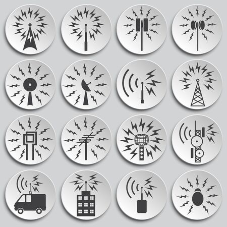 Illustration pour Antennas related icons set on background for graphic and web design. Simple illustration. Internet concept symbol for website button or mobile app - image libre de droit