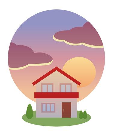 Illustration pour Sunset and red roof house - image libre de droit