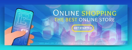 Illustration pour Banner template of Online Shopping and e-commerce.Modern flat design concept of web page design for mobile website.Online payment, customer service and delivery.Vector illustration - image libre de droit