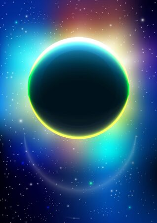 Illustration for Modern abstract pattern vector background or Wallpaper on the background of the cosmos. Outer space. Eclipse. Abstract background for brochure, card, flyer, poster, cover. Vector illustration - Royalty Free Image