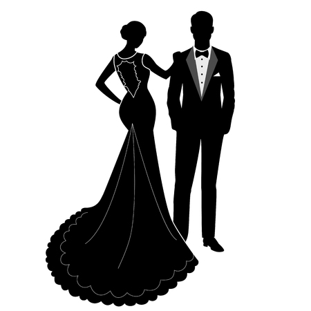 Illustration pour The bride and groom. The black silhouette of a bride and groom isolated on white background. Vector illustration. - image libre de droit