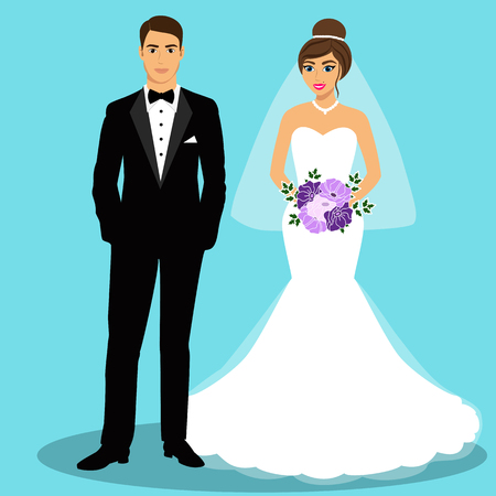 Illustration pour Bride and groom. Couple. Wedding card with the newlyweds. Isolated objects. Vector illustration. - image libre de droit