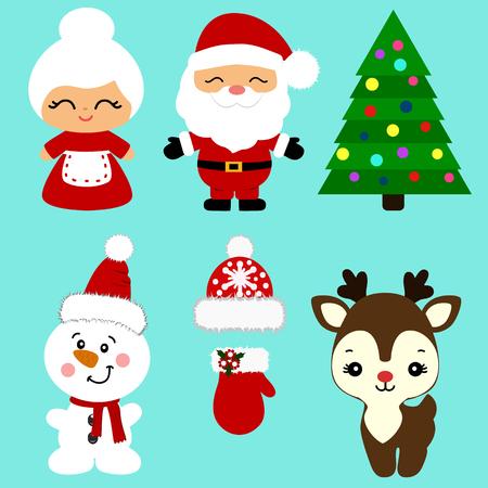 Christmas icons. Collection. Santa. New Year Christmas decoration