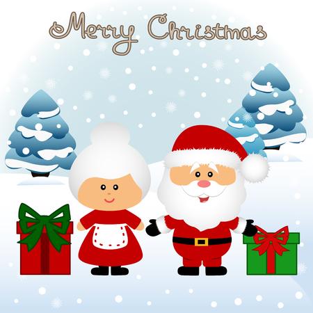Christmas card. Funny postcard with Mrs. Santa Claus and Santa Claus. Vector Illustration.
