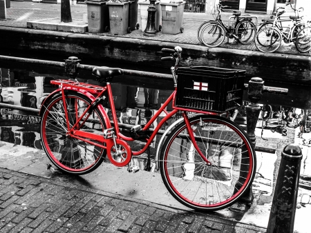 Red bicycle in Amsterdam  Netherlands