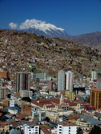 Modern city centre of La Paz with Illimani mountain (Bolivia)