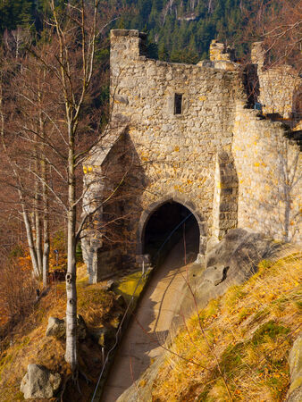 Old gate tower of Oybin Castle  Germany