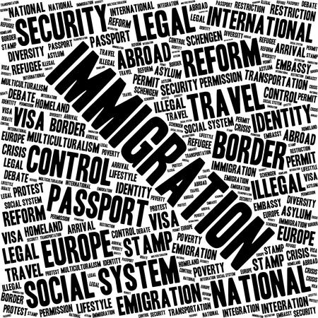 Immigration word cloud concept in a shape of square