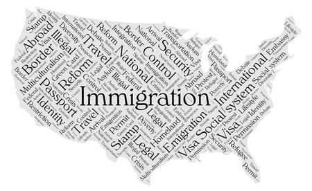 Immigration word cloud concept in a shape of United States silhouette. Black text on grey map.