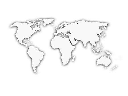 Illustration pour White world map with shadow silhouette. Looks like map cut from paper. Vector illustration. - image libre de droit