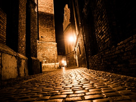 Illuminated cobbled street with light reflections on cobblestones in old historical city by night
