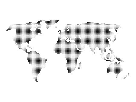 Illustration pour Dotted world map. Black map on white background. Vector illustration made of small circles. - image libre de droit