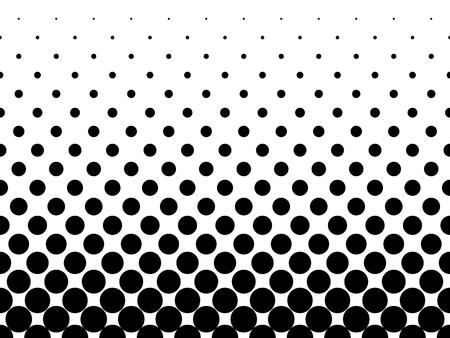 Ilustración de Halftone background of black dots on white background. Gradient of large dots at the bottom and smaller dots at the top of illustration. - Imagen libre de derechos
