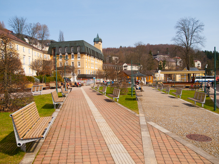 Spa area in the centre of mountain town Janske Lazne, Giant Mountains, Czech Republic