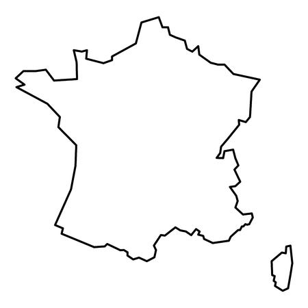 Simple contour map of France. Black outline map isolated on white background.
