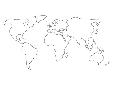 World Map Divided To Six Continents In Black North America South America Africa Europe Asia And Australia Oceania Simplified Black Outline Of Blank Vector Map Without Labels Royalty Free Vector Graphics