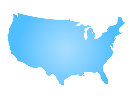 Illustration pour Blue radial gradient silhouette map of United States of America, aka USA. illustration. - image libre de droit