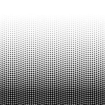 Halftone Background Of Dots In Wavy Arrangement Black White