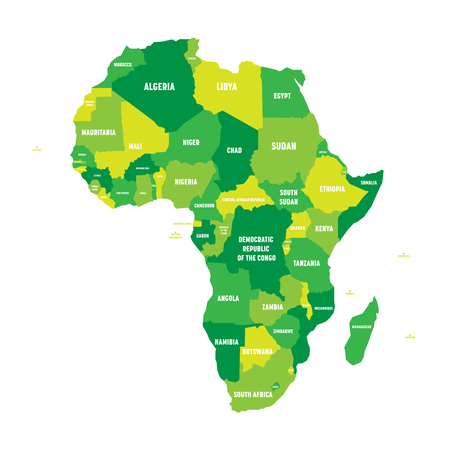 Ilustración de Political map of Africa in four shades of green with white country name labels on white background. Vector illustration. - Imagen libre de derechos