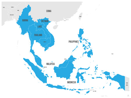 Illustration pour ASEAN Economic Community, AEC, map. Grey map with blue highlighted member countries, Southeast Asia. Vector illustration. - image libre de droit