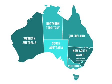 Simplified map of Australia divided into states and territories. Turquoise blue flat map with white borders and white labels. Vector illustration.