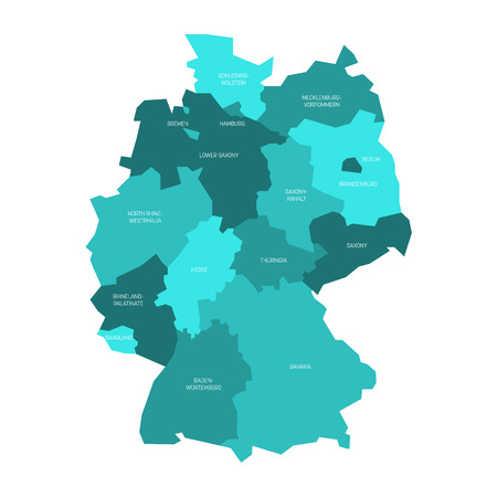 Map of Germany devided to 13 federal states and 3 city-states - Berlin, Bremen and Hamburg, Europe. Simple flat vector map in shades of turquoise blue.