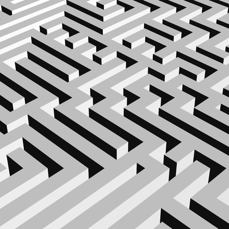 Grey 3D maze labyrinth.