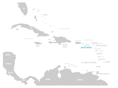 Saint Kitts and Nevis blue marked in the map of Caribbean. Vector illustration.