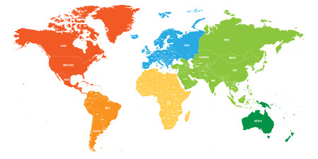 Illustration pour World map divided into six continents. Each continent in different color. Simple flat vector illustration. - image libre de droit